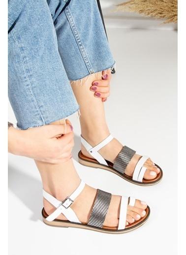 Derithy Alsheus Hakıkı Derı Sandalet-Taba-Rms7015 Beyaz